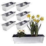 6er Set Pflanzkasten für Europalette - aus Metall verzinkt - 38x12,5x9cm groß - Zinkkasten Blumenkasten Balkonkasten Blumenkübel Paletten-Einsatz Pflanzkübel Blumentopf Garten Balkon