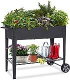 KHOMO GEAR Urbaner Gemüsegartenwagen, verzinkt, für den Anbau im Haus, Pflanzen, Obst, Gemüse, Terrasse, Innenbereich, Außenbereich, Schwarz