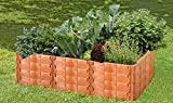 Juwel Hochbeet Profiline Größe 2 (40 Bausteine in terracotta, Gemüsebeet Füllinhalt 1000 l, Größe 190x121 cm, Höhe 52 cm, Pflanzenbeet mit Stabilisierungs-Set) 20290